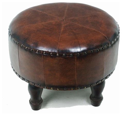 round faux leather ottoman faux leather 20 in brown round ottoman traditional