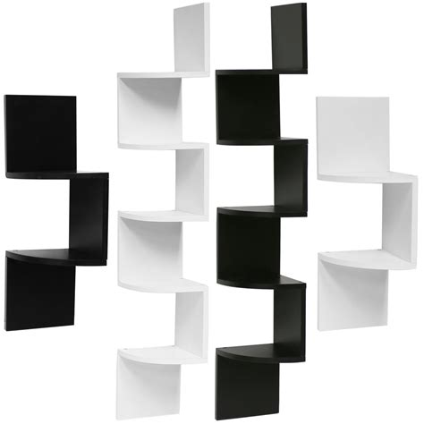 hartleys zig zag wood floating corner wall shelf unit