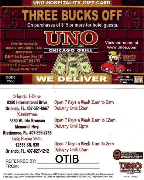 Pizzeria Uno Gift Card - uno coupons fire it up grill