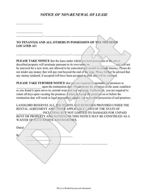 Letter Lease Non Renewal Landlord S Notice Of Non Renewal Of Lease To Tenants With Sle Nonrenewal Of Lease Letter