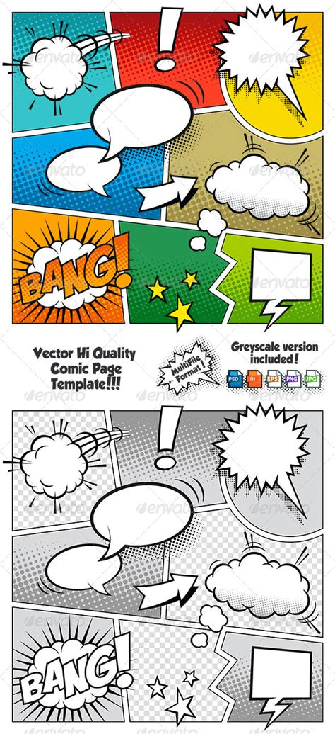 Color Comic Book Page Template By Fourleaflover Graphicriver Powerpoint Comic Template