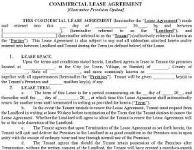 Commercial Rental Contract Template by Commercial Property Lease Agreement