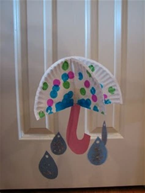 Paper Plate Umbrella Craft - umbrella and raindrops craft if i do a weather themed