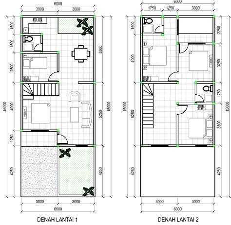 Contoh Denah Rumah Minimalis 2 Lantai Type 70 ~ Gambar