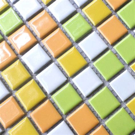 White yellow orange green porcelain tiles hmcm1028 for bathroom shower mosaic kitchen backsplash