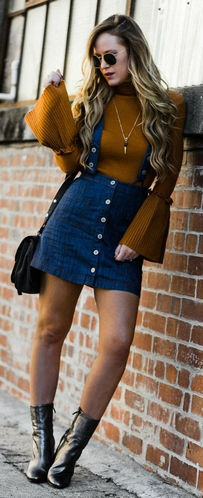 bell sleeve sweater outfit  skirt fashion denim