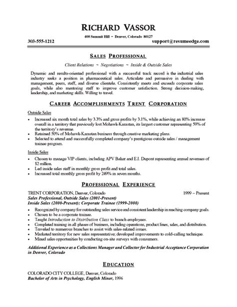 Resume Sles Of Quality Sle Sales Resume