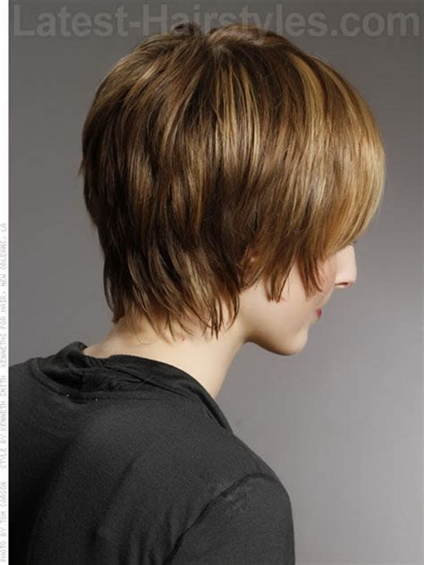 short hair with shag back view show short stacked wispy bob back view short hairstyle 2013