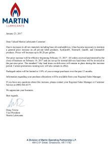 Sle Letter For Product Price Increase martin lubricants martin lubricants announces price
