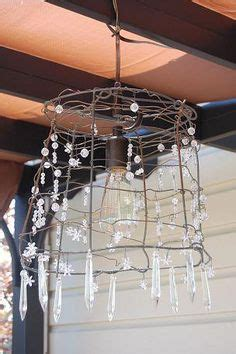 Tomato Cage Chandelier L Shade Frame With Found Chandelier Crystals Diy Repurpose Frame Display