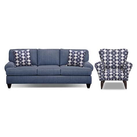 sofa and accent chair set bailey blue 91 quot sofa and accent chair set american