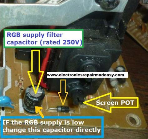 crt tv capacitor electronics repair made easy sony trinitron crt tv with spots on the screen