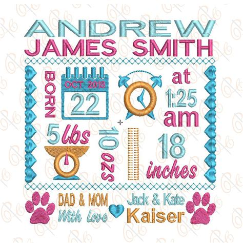 Embroidery Birth Announcement Template