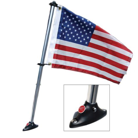 boat light flag pole made u s flag kit with flat surface boat mount