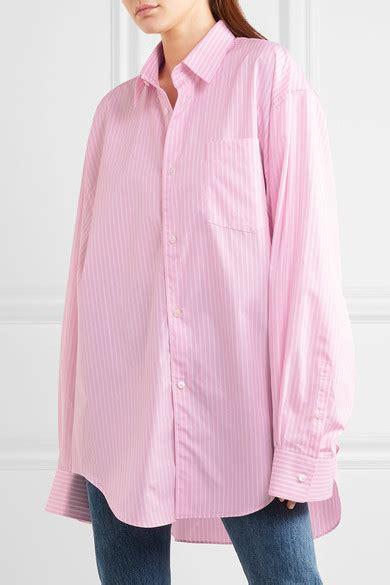 vetements comme des garcons oversized cotton poplin shirt vetements comme des gar 231 ons oversized striped cotton