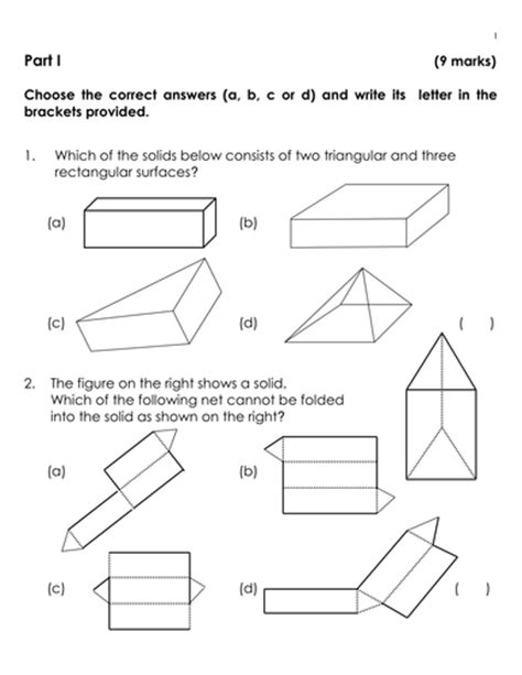 shapes worksheets ks3 ks3 quiz 3d shapes and volume of cuboids by jinkydabon