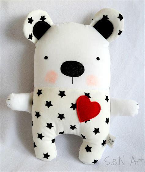 Soft Toys Handmade - black and white handmade stuffed teddy soft