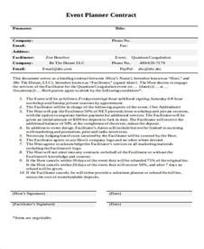 event agreement template planner contract template event template