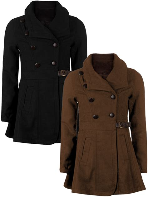 swing trench coat double breasted lapel vintage wool swing trench coat