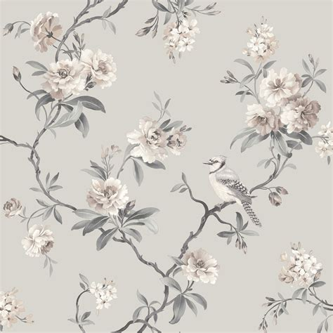 wallpaper grey floral fine decor chic floral chinoiserie bird wallpaper in grey