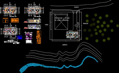 wooden cabin  river  dwg design elevation  autocad