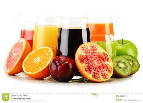 Detox Diet Fruit Juice by Glasses Of Assorted Fruit Juices On White Detox Diet
