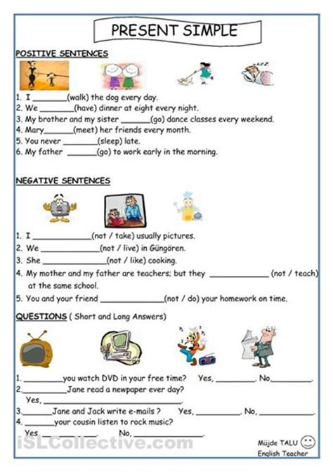 present simple for kids worksheets printable activities