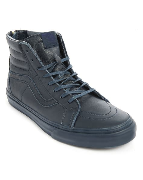 zipper sneakers vans sk8 high top navy leather california zipper sneakers