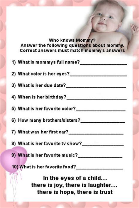 Baby Shower Questionnaire by Who Knows Best Baby Shower Questions Baby