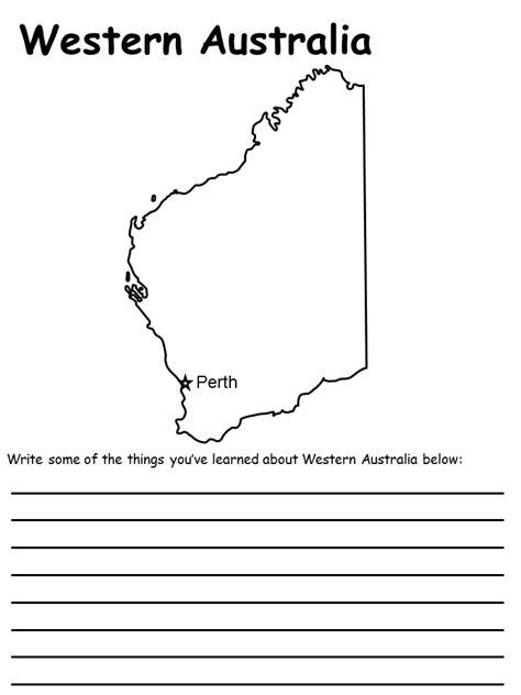 printable maps western australia map of australia worksheet
