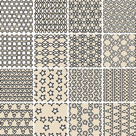 basic doodle seamless pattern set no 8 in black and white basic doodle seamless pattern set no 10 in black and white