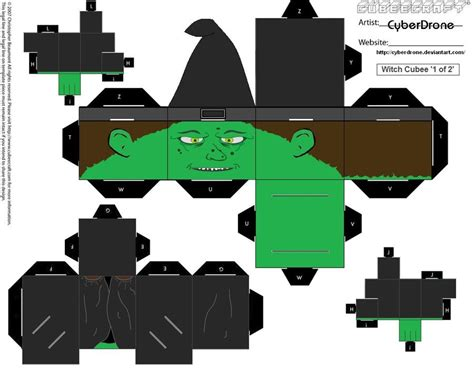 Minecraft Papercraft Witch - cubee witch 1of2 by cyberdrone on deviantart