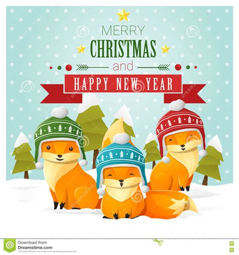 happy new year card vector merry and happy new year greeting card with fox
