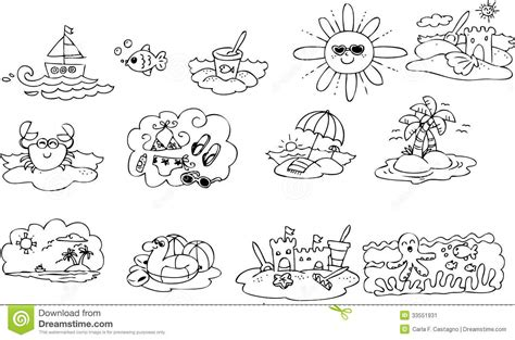 coloring summer elements stock vector illustration