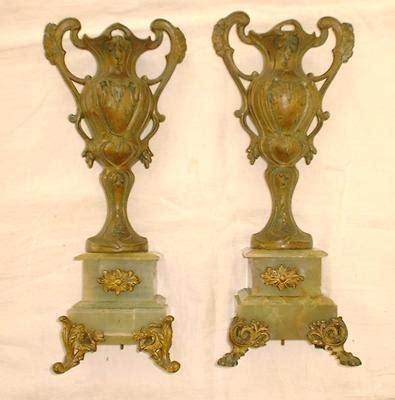 Antique Metal Vases by Two Antique Metal Vases On Jade Base