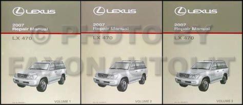 auto manual repair 2007 lexus lx free book repair manuals 2007 lexus lx 470 repair shop manual original 3 volume set