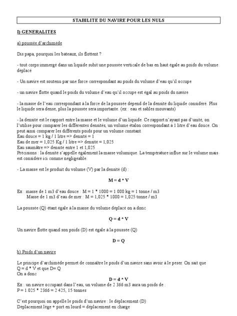 19886654 La Stabilite Des Navires Pour Les Nuls | Grandeur