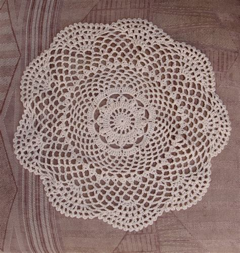 Handmade Doilies - 12 quot shaped handmade cotton crochet doilies beige