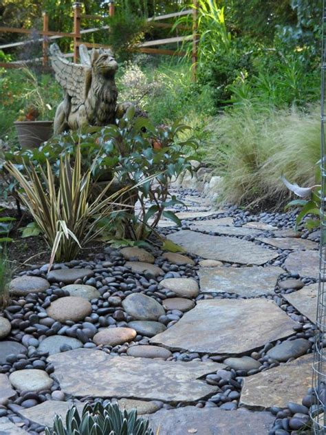 rock pathways griffpath river rock and flagstone pathway in the garden