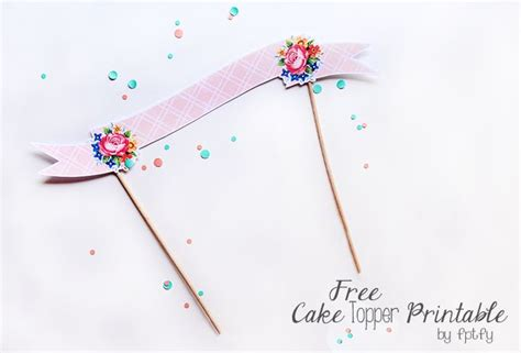 printable birthday banner cake topper free cake topper printable printables pinterest