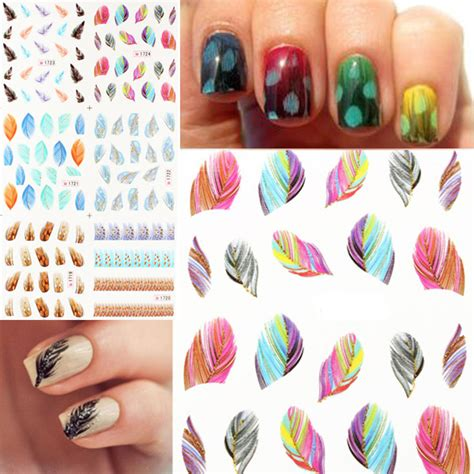 glitter leopard peacock feather nail art stickers cat nail