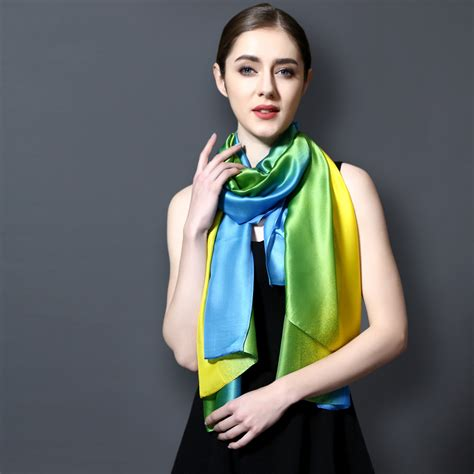 Gradient Silk Scarf gradient colored silky scarf top tier style