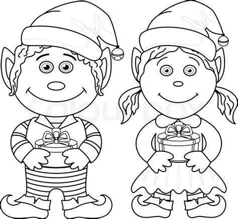 boy elf coloring pages christmas elves boy and girl outline stock vector