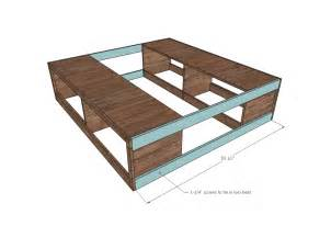 Diy Bed Frame With Storage Plans White Scrap Wood Storage Bed With Drawers