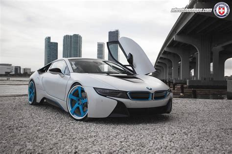 bmw i8 modified white bmw i8 lowered on blue hre wheels gtspirit