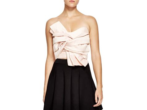 Bustier Tops by Lyst Endless Cropped Bow Bustier Top In