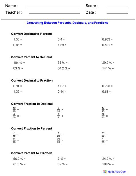 Worksheet On Converting Fractions To Decimals by Percent Worksheets Percent Worksheets For Practice