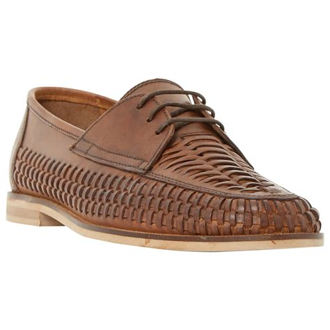 dune brighton pier woven leather lace up shoes in