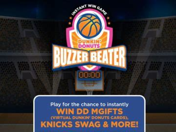 Dunkin Donuts Instant Win - the dunkin donuts buzzer beater instant win game