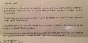 Customer Banning Letter Sainsbury S Bans From Any Store In Britain After He Bumped Shopper With Mobility Scooter
